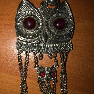 Vintage tiered silver owl  sweater necklace